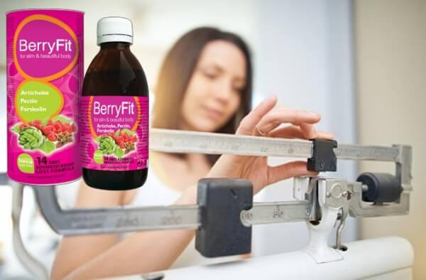 BerryFit organické kapky hubnutí, žena váha měřítko